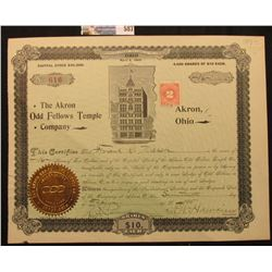 """Stock Certificate Incorporated Under the Laws of the State of Ohio April 2, 1895 for 16 Shares """"The"""