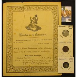 1871 Death Certificate written in German??? I think? & 1874 Two Pfennig with solder on reverse; 1875