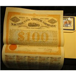 """""""United States of America State of New York No.152 $100 Nacimiento Copper Company First Mortgage, Go"""