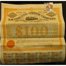 """""""United States of America State of New York No.151 $100 Nacimiento Copper Company First Mortgage, Go"""