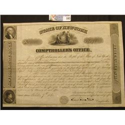 """""""New York State Stock State of New-York $5,000 No.78 Comptroller's Office. Be it Known that the Peop"""