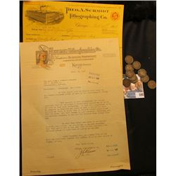 """October 30th, 1918 """"Theo. A. Schmidt Lithographing Co. Chicago"""" Invoice; 1927 letter on Stationery o"""
