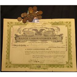 """May 11, 1914 """"Bangs Laboratories, Inc."""" Incorporated Under the Laws of Delaware. This company was fa"""