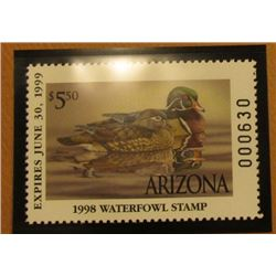 1998 Arizona Waterfowl $5.50 Stamp depicting a pair of Wood Ducks, Mint, unsigned, in vinyl page wit