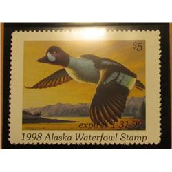 1998 Alaska Waterfowl $5.00 Stamp depicting a pair of Barrow's Goldeneye, Mint, unsigned, in vinyl p