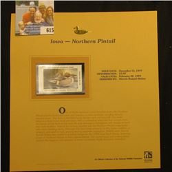 1998 Iowa Migratory Waterfowl $5.00 Stamp depicting a pair of Northern Pintail, Mint, unsigned, in v