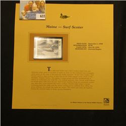 1998 Maine Waterfowl $2.50 Stamp depicting a pair of Surf Scoter, Mint, unsigned, in vinyl page with