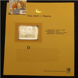 1998 New York Waterfowl $5.50 Stamp depicting a pair of Osprey, Mint, unsigned, in vinyl page with l
