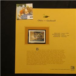 1998 Ohio Welands Habitat $11.00 Stamp, Mint, unsigned, in vinyl page with literature.