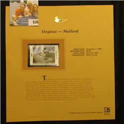 1998 Virginia Waterfowl $5.00 Stamp depicting a flock of Mallard Ducks, Mint, unsigned, in vinyl pag