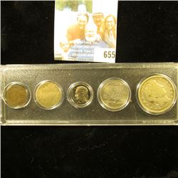 Five-Piece Type Set of U.S. Coins in a Snaptite case, includes 1890 Indian Cent, 1912 D Liberty Nick
