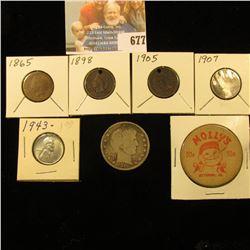 """Molly's 50c Ottumwa, Ia."" Wooden Coin; 1865, 98 (holed) 1905 (Holed), & 1907 (Holed) Indian Head Ce"