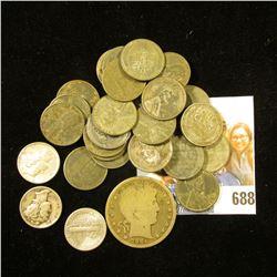 (27) 1943 era U.S. Steel Cents; (3) World War II era Silver Mercury Dimes; & 1904 P U.S. Barber Half