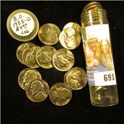 1955 D Original Gem BU Roll of Jefferson Nickels in a plastic tube.