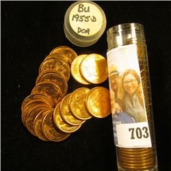 1955 D Original Gem BU Roll of Lincoln Cents in a plastic tube. An occasional spot in this roll.