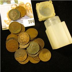 (25) Mixed Date Indian Head Cents dating back to 1883 in a small plastic tube.