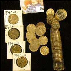 Roll of WW II era U.S. Steel Cents in a plastic tube; (10) Old Buffalo Nickels; & (4) Silver World W
