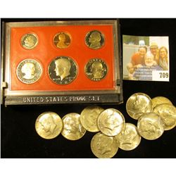 1980 S U.S. Proof Set, box a little ragged; (2) 1966P, (6) 67P, & (2) 68D EF-BU 40% Silver Kennedy H