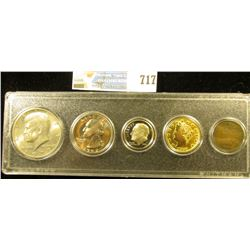 Five-Piece Coin Set in a Snaptight case, includes: 1900 Indian Cent, VG; 1883 NC Gold-Plated 'Racket