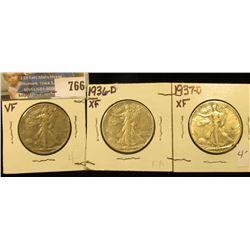1936 P, 36 D, & 37 D Walking Liberty Half Dollars, all VF-EF.