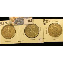 1939 D, 41 P, & D Walking Liberty Half Dollars, all EF.