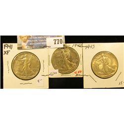 Set of Three World War II Silver Walking Liberty Half Dollars, all grading EF. Includes 1941 P, 42 P
