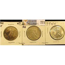 Set of Three World War II Silver Walking Liberty Half Dollars, all grading EF-AU. Includes 1941 P, 4
