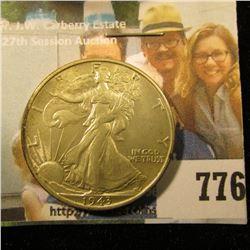 1943 S Walking Liberty Half Dollar, AU-Unc.