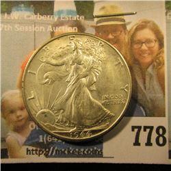 1944 D Walking Liberty Half Dollar, Brilliant Uncirculated.