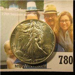 1945 P Walking Liberty Half Dollar, Brilliant Uncirculated.