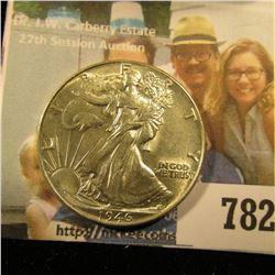 1946 P Walking Liberty Half Dollar, Brilliant Uncirculated.