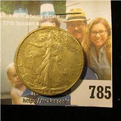 1947 D Walking Liberty Half Dollar, Full Natural Toned Uncirculated.