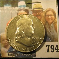 1951 P Franklin Half Dollar, Brilliant Uncirculated.
