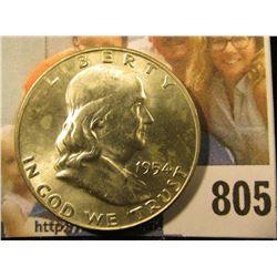 1954 D Franklin Half Dollar, Brilliant Uncirculated.