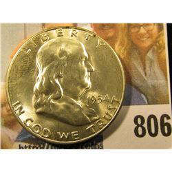 1954 S Franklin Half Dollar, Brilliant Uncirculated.