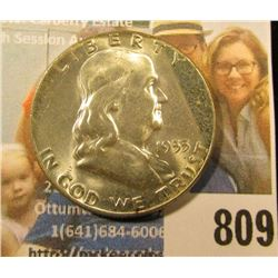 1955 P Franklin Half Dollar, Brilliant Uncirculated.