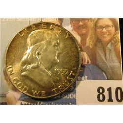 1955 P Franklin Half Dollar, Brilliant Uncirculated, superb Toning.