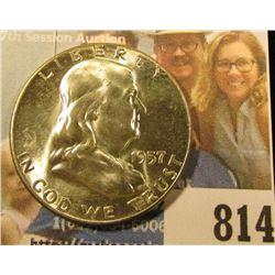 1957 P Franklin Half Dollar, Brilliant Uncirculated.
