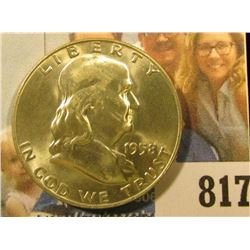 1958 D Franklin Half Dollar, Brilliant Uncirculated.