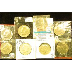 1965P, 66P, 67P, 71P, 74D, 80D, 85P & D BU Kennedy Half Dollars, several in original Mint cellophane