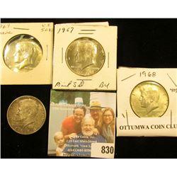 1964 P Kennedy Silver Half Dollar; toned Almost Uncirculated, 67 P BU, & 68 D AU Kennedy Silver Half