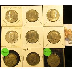 1967, (2) 68D, 71 P, 71 D, 72 P, D, 73 P, & 73 D Kennedy Half Dollars.