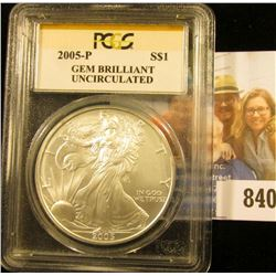 2005-P American Eagle One Ounce .999 Fine Silver Dollar PCGS slabbed Gem Brilliant Uncirculated.
