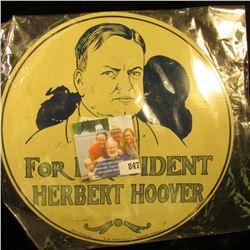 """1928 License Plate Attachment """"For President Herbert Hoover"""""""