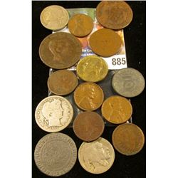 Mixed Group of Old Coins including some Silver, a counterstamped Two Cent Piece, and a Large Cent.