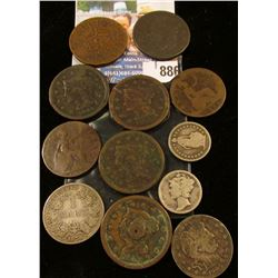 A nice old group of Silver and Copper Coins including several U.S. Large Cents.