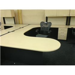 MAPLE AND GREY 7' X 10' U-SHAPE EXECUTIVE DESK, COMES WITH HUTCH, RH
