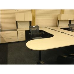 MAPLE AND GREY 6.5' X 10' U-SHAPE EXECUTIVE DESK, COMES WITH HUTCH, LH