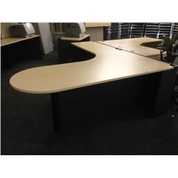 MAPLE AND GREY 7.5' X 6.5' L-SHAPE BULLET TOP COMPUTER DESK, LH