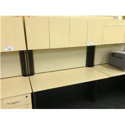 MAPLE AND GREY 4' COMPUTER DESK, COMES WITH HUTCH